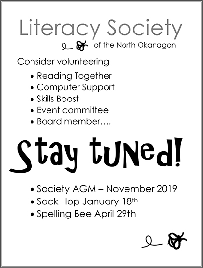 Upcoming Events | Literacy Society of North Okanagan